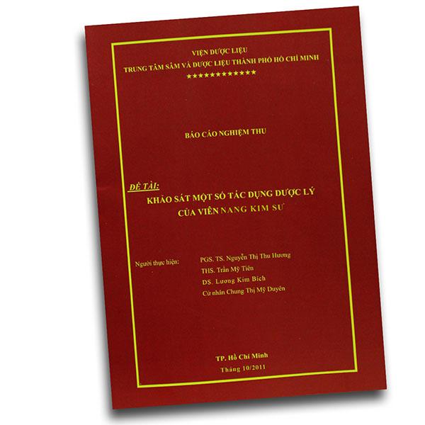 báo cáo nghiên cứu khoa học Kim Sư Trung Tâm Sâm và Dược Liệu Tp Hồ Chí Minh-Viện Dược Liệu-Bộ Y Tế